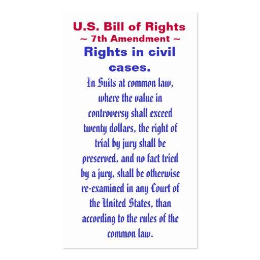 U.S. Bill of Rights, ~ Seventh (7th) Amendment ~ Business Card Template