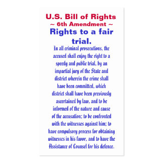 U S Bill of Rights Sixth 6th Amendment Business Card Templates