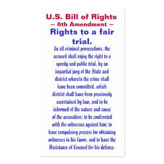 U.S. Bill of Rights, ~ Sixth (6th) Amendment ~ Pack Of Standard Business Cards