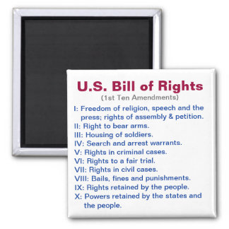 U.S. Bill of Rights Square Magnet