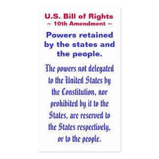 U S Bill of Rights Tenth 10th Amendment Business Card Templates