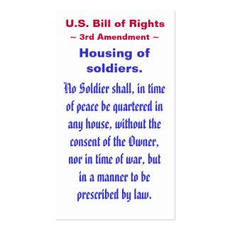 U S Bill of Rights Third 3rd Amendment Business Cards