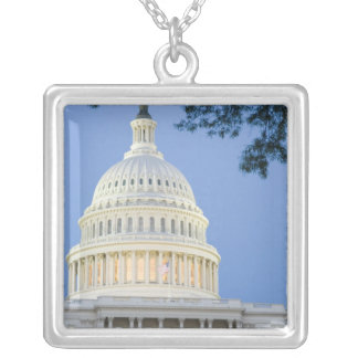 U.S. Capitol at dusk, Washington D.C. (District Silver Plated Necklace