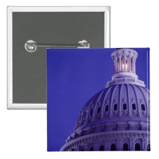 U.S Capitol at dusk with light in dome on 15 Cm Square Badge