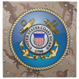 U S Coast Guard Emblem Printed Napkins