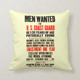 U.S. Coast Guard Men Wanted 1914 Cushion