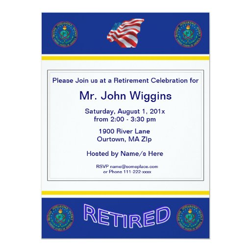 U.S. Defence Intelligence Agency Retirement Invita 17 Cm X 22 Cm Invitation Card