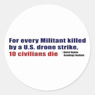 U.S. Drone Strike Militant Civilian Kill Ratio Classic Round Sticker
