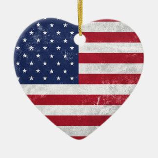 U.S. Flag Ceramic Heart Decoration