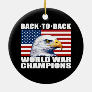 U.S. Flag & Eagle World War Champions Round Ceramic Decoration