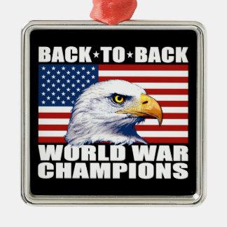 U.S. Flag & Eagle World War Champions Silver-Colored Square Decoration