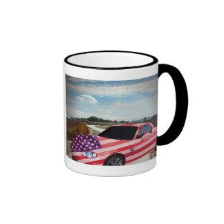 U S flag painted car, mug