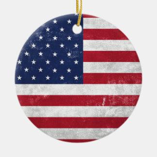 U.S. Flag Round Ceramic Decoration