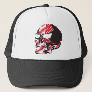 U.S. Flag Skull Trucker Hat