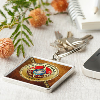 U.S. Marine Corps Forces Command (MARFORCOM) [3D] Silver-Colored Square Key Ring