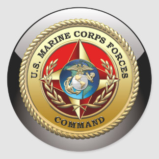 U S Marine Corps Forces Command MARFORCOM 3D Round Stickers
