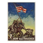 """U.S. Marine Corps Vintage """"Now All Together"""" Poster"""