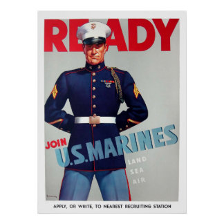 "U.S. Marine Corps Vintage ""Ready"" Poster"