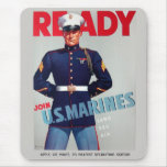 """U.S. Marine Corps Vintage WWII """"Ready"""" Poster Mouse Pad"""