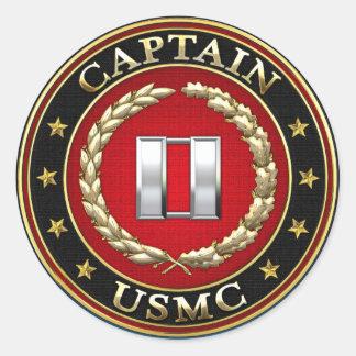 U.S. Marines: Captain (USMC Capt) [3D] Classic Round Sticker