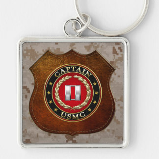 U.S. Marines: Captain (USMC Capt) [3D] Silver-Colored Square Key Ring