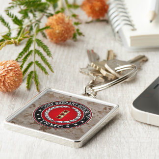 U.S. Marines: Chief Warrant Two (USMC CWO-2) [3D] Silver-Colored Square Key Ring