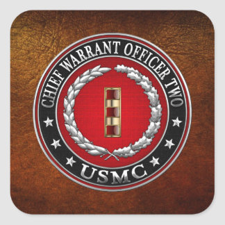 U.S. Marines: Chief Warrant Two (USMC CWO-2) [3D] Square Sticker