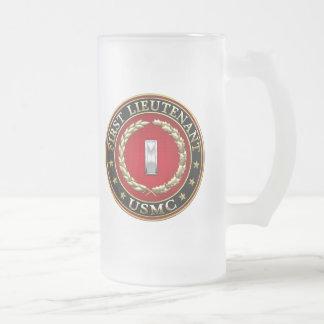 U.S. Marines: First Lieutenant (USMC 1stLt) [3D] Frosted Glass Beer Mug