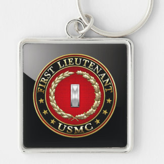 U.S. Marines: First Lieutenant (USMC 1stLt) [3D] Silver-Colored Square Key Ring