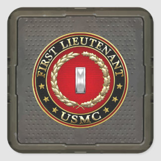U.S. Marines: First Lieutenant (USMC 1stLt) [3D] Square Sticker