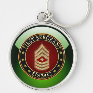 U.S. Marines: First Sergeant (USMC 1stSgt) [3D] Silver-Colored Round Key Ring