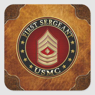U.S. Marines: First Sergeant (USMC 1stSgt) [3D] Square Sticker