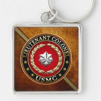 U.S. Marines: Lieutenant Colonel (USMC LtCol) [3D] Silver-Colored Square Key Ring