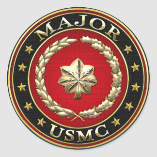 U.S. Marines: Major (USMC Maj) [3D] Classic Round Sticker