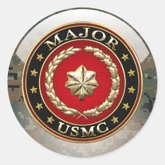 U.S. Marines: Major (USMC Maj) [3D] Classic Round Sticker