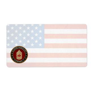 U.S. Marines: Master Sergeant (USMC MSgt) [3D] Shipping Label