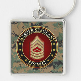 U.S. Marines: Master Sergeant (USMC MSgt) [3D] Silver-Colored Square Key Ring