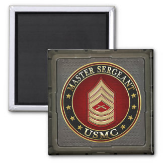 U.S. Marines: Master Sergeant (USMC MSgt) [3D] Square Magnet