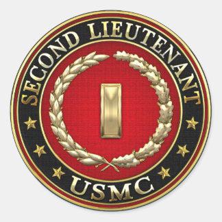 U.S. Marines: Second Lieutenant (USMC 2ndLt) [3D] Classic Round Sticker