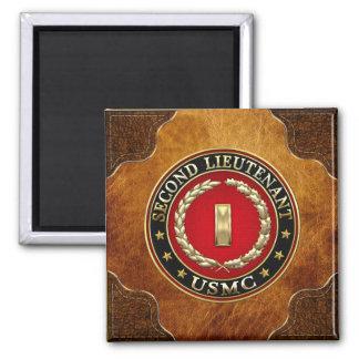U.S. Marines: Second Lieutenant (USMC 2ndLt) [3D] Square Magnet