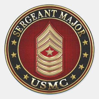 U.S. Marines: Sergeant Major (USMC SgtMaj) [3D] Classic Round Sticker