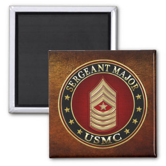 U.S. Marines: Sergeant Major (USMC SgtMaj) [3D] Square Magnet