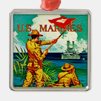U.S. Marines ~ Signal Flag Silver-Colored Square Decoration