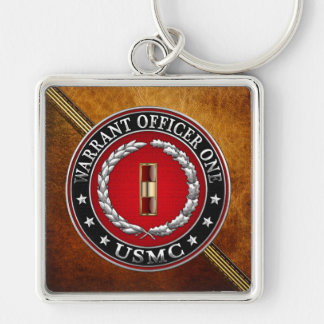 U.S. Marines: Warrant Officer One (USMC WO-1) [3D] Silver-Colored Square Key Ring