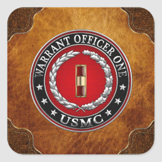 U.S. Marines: Warrant Officer One (USMC WO-1) [3D] Square Sticker