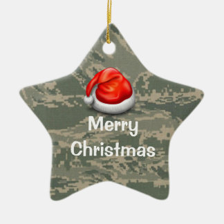 U.S. Military Camo Star Merry Christmas Ornament