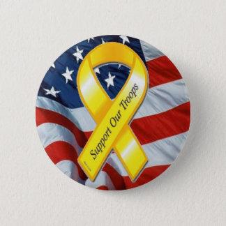 U.S. MILITARY - Yellow Ribbon & Flag 6 Cm Round Badge