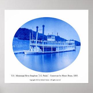 """U.S. Mississippi River Snagboat """"J.G. Parke""""  1885 Poster"""