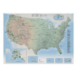 U.S. National Parks map poster
