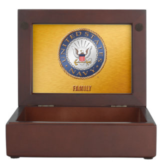 U.S. Navy Family Wooden Keepsake Box
